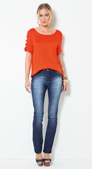 Blusa Mangas Vazadas e Calça Jeans