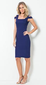 Vestido Azul com Ombros Vazados