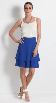 Vestido Azul e Off White