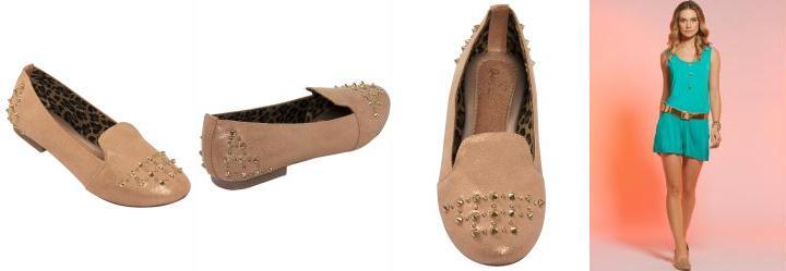Sapatilha Modelo Slipper com Spikes Bronze