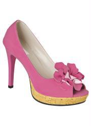 Sapato Peep Toe Pink Meia Pata