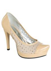 Sapato Feminino Bege Modelo Meia Pata e Tubarão