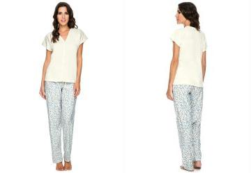 Conjunto Pijama Longo Floral Bege Liberta