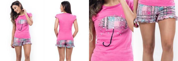 Pijama com Aplique de Guarda-Chuva Rosa Laibel
