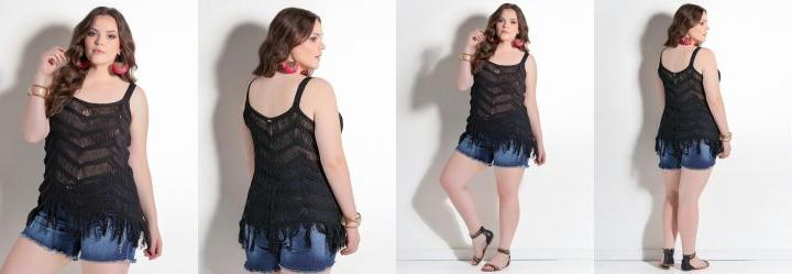 Blusa de Tric� com Franjas Preta Plus Size