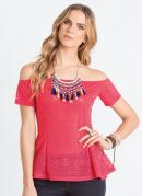 Blusa Peplum com Decote Ombro a Ombro Pink