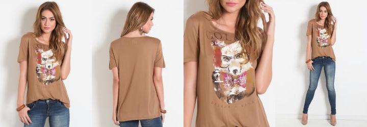 T-Shirt Raposa Bege Colcci