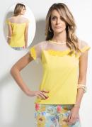 Blusa Guipir com Transpar�ncia  Amarela