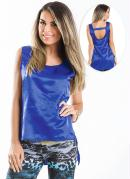 Blusa Cetim  Azul  Mullet