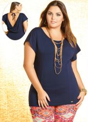 Blusa Plus Size Azul Marinho Decote nas Costas