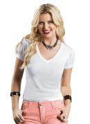 Blusa Branca com Mangas Imp�rio e Decote V