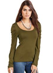 blusa de manga longa verde oliva