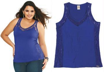Blusa com Renda Lunender Azul Klein