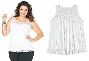 Blusa com Renda Lunender Plus Branco
