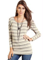 blusa listrada com manga longa