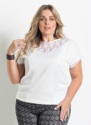 Blusa Detalhe Renda Branca Plus Size