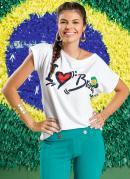 Blusa Feminina  Branca Estampa Brasil