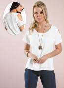 Blusa Feminina Detalhe com Recortes Branca