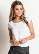 Blusa Feminina Detalhe Furadinho Branca
