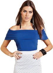 blusa azul royal com decote diferenciado