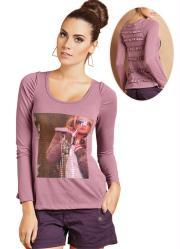 blusa de manga longa rosa antigo com estampa