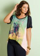 Blusa Leve Transpar�ncia Estampada Plus Size