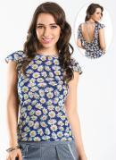 Blusa  Estampa Flores  Decote nas Costas