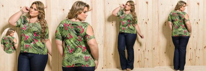 Blusa Manga Vazada Estampa Tropical Plus Size