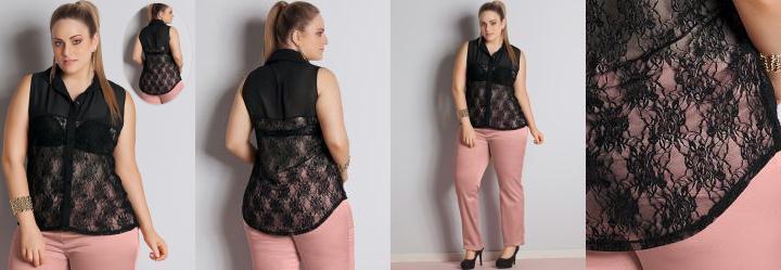 Blusa Renda Plus Size Preta