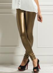 calça legging dourada