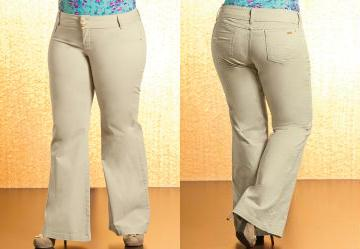 Calça Pantalona Plus Size Bege