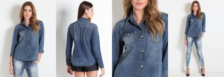 Camisa Jeans Colcci Azul
