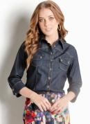 Camisa Jeans Escuro Ana Hickmann Mangas 3/4