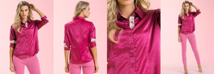 Camisa Cetim Rosa Malwee