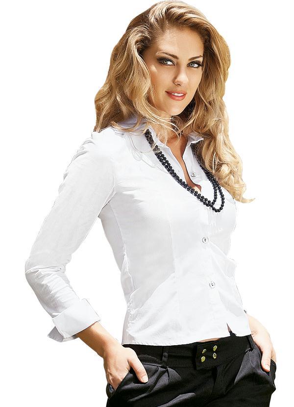 Camisa Feminina (Branca) em Tricoline
