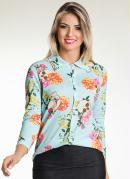 Camisa Feminina Estampa Caveira e Flores