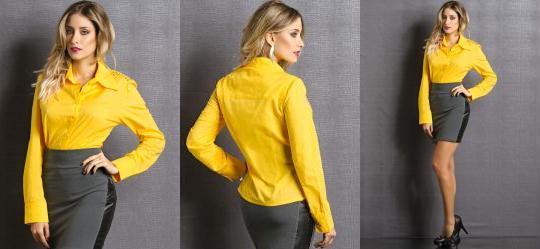 Camisete com Aplique de Termocolantes Amarela