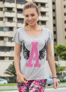 Camiseta Cinza Estampada