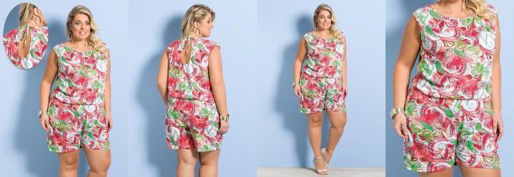 Macaquinho Rosa Estampado Plus Size