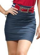Saia Imitando Jeans com Recortes  Azul