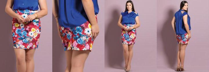 Saia Reta Mix Floral Plus Size