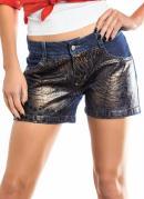 Short  Jeans  Animal Print em Foil