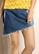 Short Saia Jeans Azul