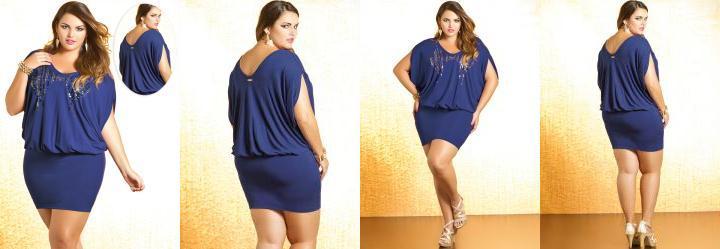 Vestido Plus Size Azul Royal