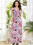 VESTIDO LONGO COM (ESTAMPA TROPICAL)