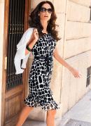 Vestido Estampa Geom�trica Branco/Preto