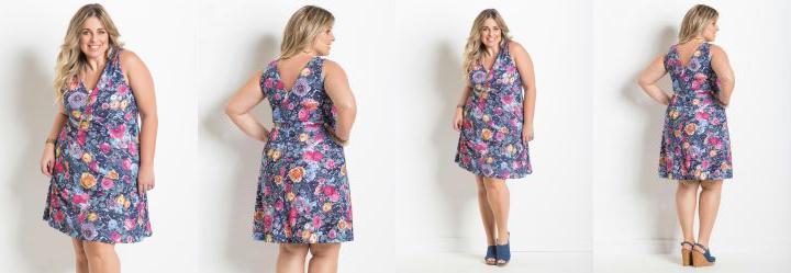Vestido Decote V Floral Plus Size