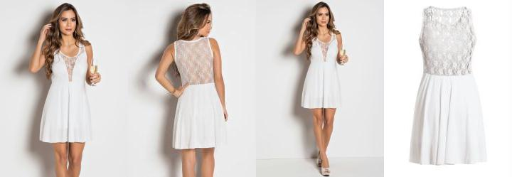 Vestido Detalhe com Renda Branco