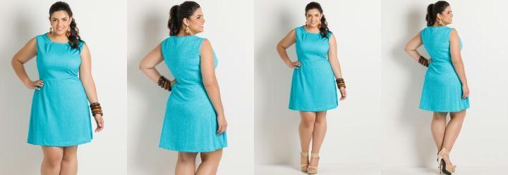 Vestido Detalhe Pregas Azul Plus Size
