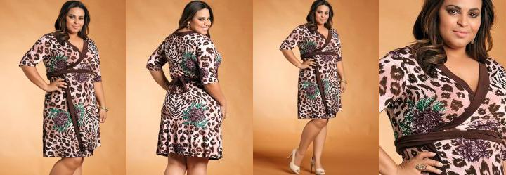 Vestido Manga 3/4 Plus Size Animal Print